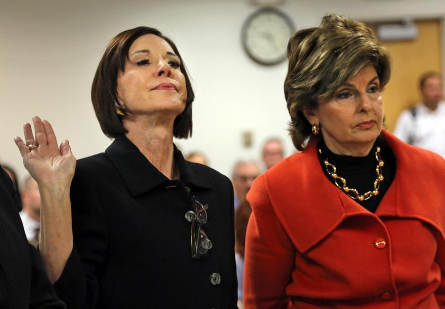 Maureen Sullivan Stemberg (left) ex-wife of Staples founder Tom Stemberg, and her lawyer Gloria Allred.